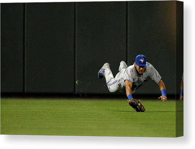 American League Baseball Canvas Print featuring the photograph Nelson Cruz and Melky Cabrera by Patrick Smith