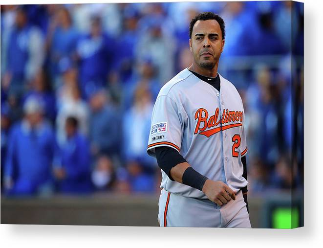 American League Baseball Canvas Print featuring the photograph Nelson Cruz by Dilip Vishwanat