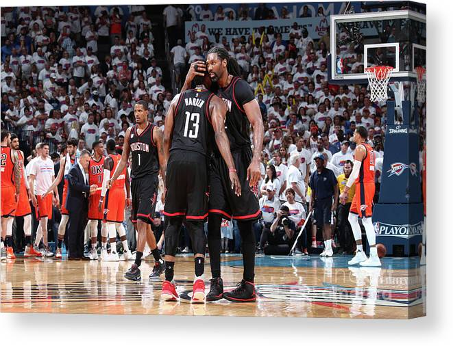 Playoffs Canvas Print featuring the photograph Nene Hilario and James Harden by Nathaniel S. Butler