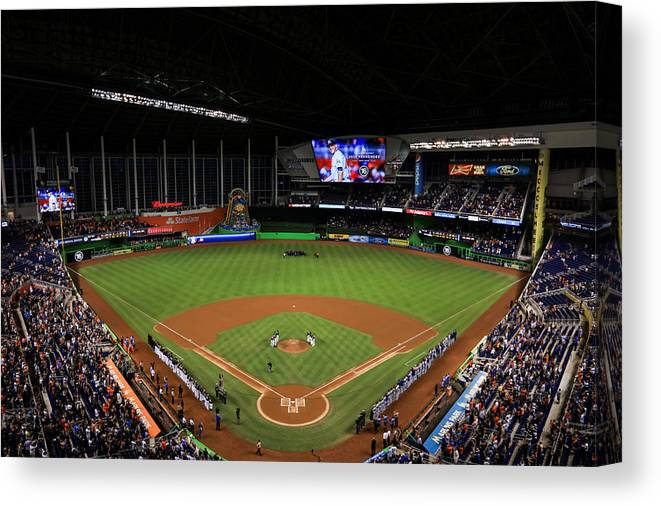 People Canvas Print featuring the photograph New York Mets v Miami Marlins by Rob Foldy