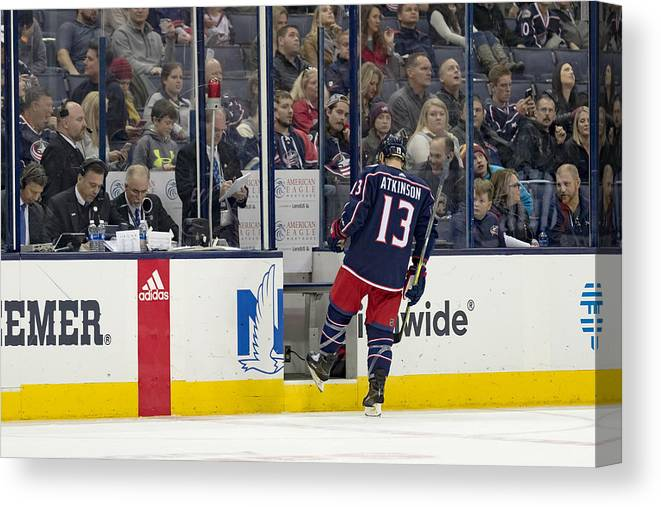 National Hockey League Canvas Print featuring the photograph NHL: DEC 01 Ducks at Blue Jackets by Icon Sportswire