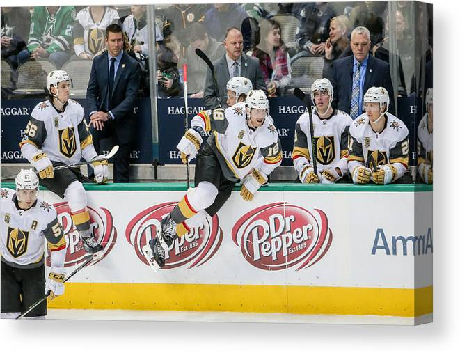 Vegas Golden Knights Canvas Print featuring the photograph NHL: DEC 09 Golden Knights at Stars by Icon Sportswire