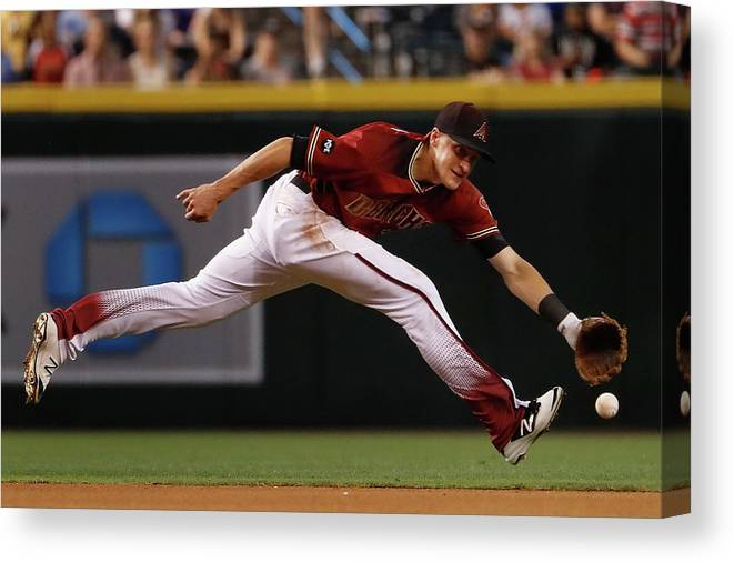 American League Baseball Canvas Print featuring the photograph Nick Ahmed by Christian Petersen