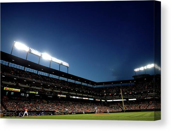 Working Canvas Print featuring the photograph Nick Markakis and Drew Hutchison by Patrick Smith