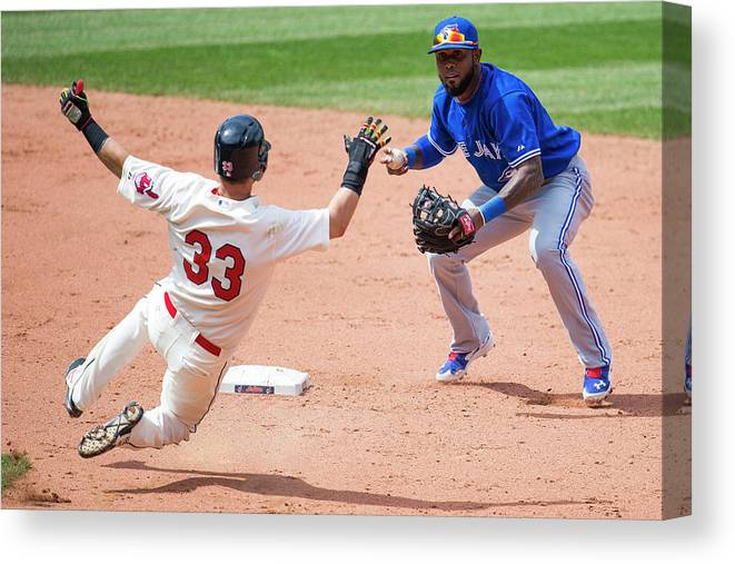 American League Baseball Canvas Print featuring the photograph Nick Swisher, Jose Reyes, and Jason Kipnis by Jason Miller