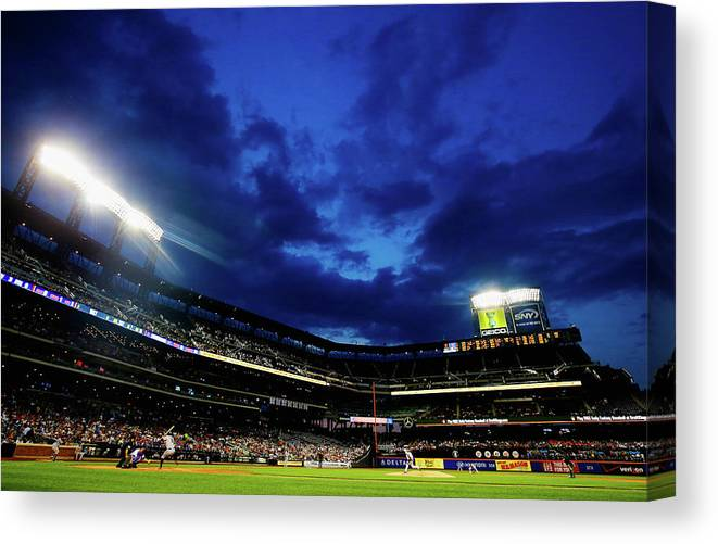 People Canvas Print featuring the photograph Noah Syndergaard and Brandon Belt by Al Bello