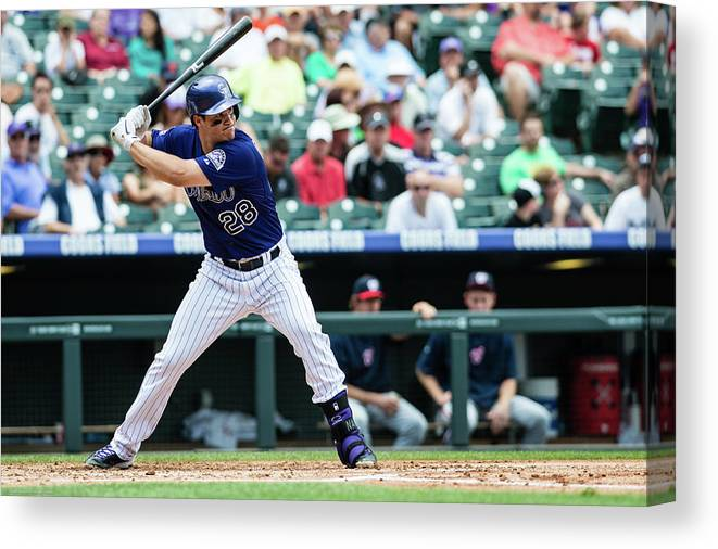 Motion Canvas Print featuring the photograph Nolan Arenado by Peter Lockley