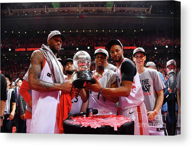 Nba Pro Basketball Canvas Print featuring the photograph Norman Powell, Kawhi Leonard, and Kyle Lowry by Jesse D. Garrabrant