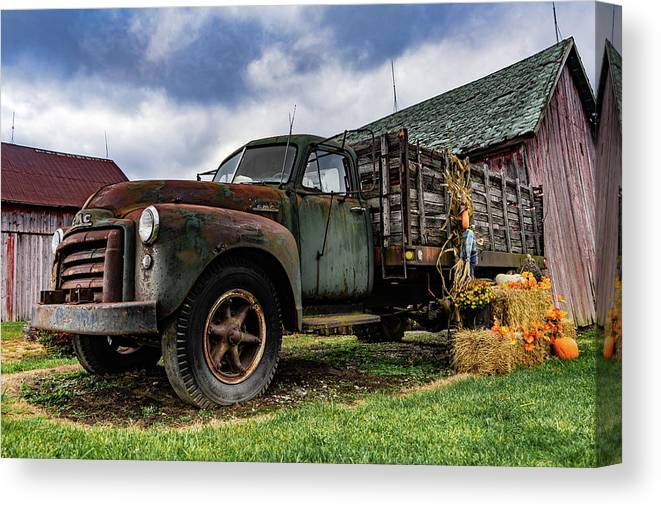 Landscape Canvas Print featuring the photograph Old Chevy Farm Truck by Scott Smith