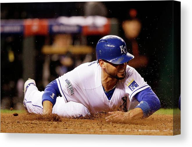 People Canvas Print featuring the photograph Omar Infante and Alcides Escobar by Ezra Shaw