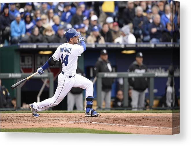American League Baseball Canvas Print featuring the photograph Omar Infante by John Williamson