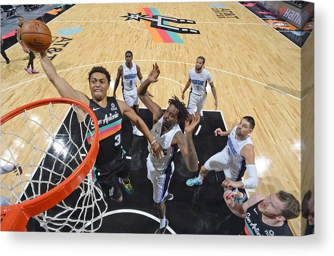 Keldon Johnson Canvas Print featuring the photograph Orlando Magic vs. San Antonio Spurs by Logan Riely