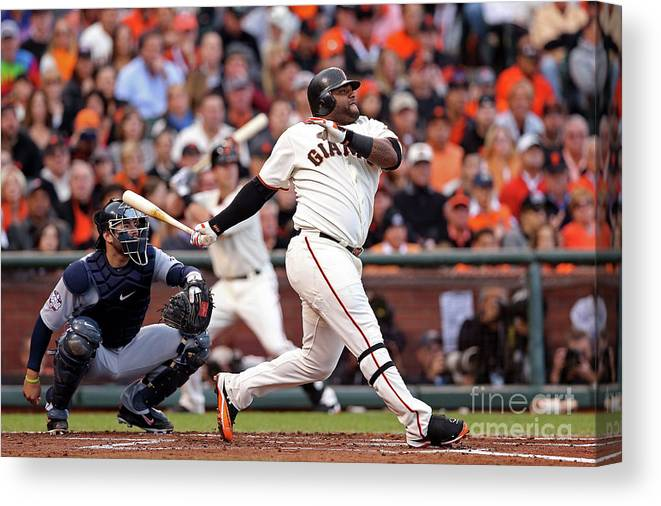 San Francisco Canvas Print featuring the photograph Pablo Sandoval and Justin Verlander by Christian Petersen