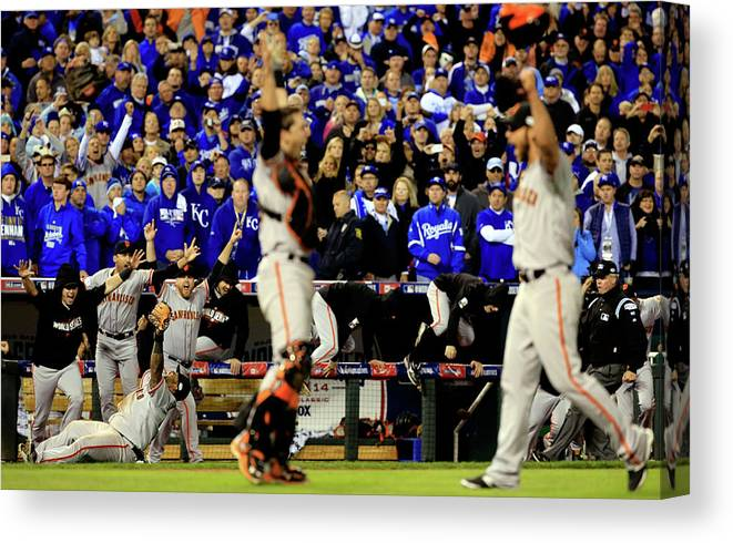 American League Baseball Canvas Print featuring the photograph Pablo Sandoval, Madison Bumgarner, and Buster Posey by Jamie Squire
