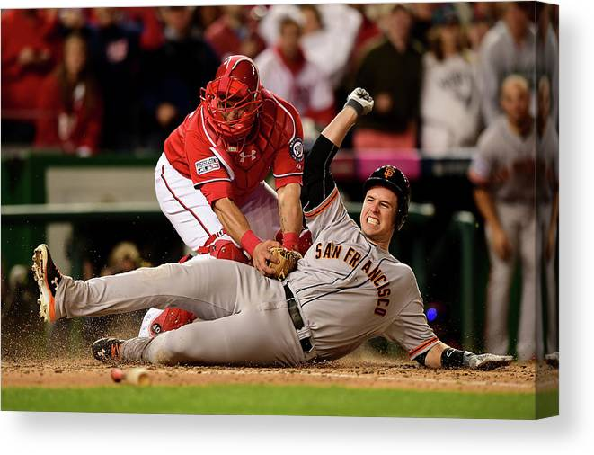Game Two Canvas Print featuring the photograph Pablo Sandoval, Wilson Ramos, and Buster Posey by Patrick Smith