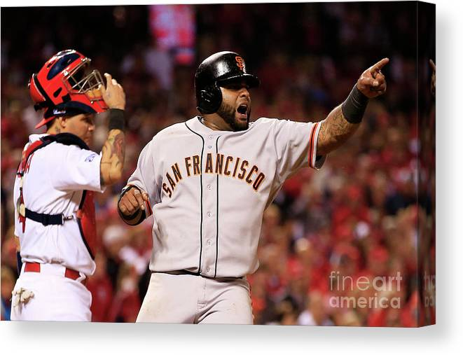 Game Two Canvas Print featuring the photograph Pablo Sandoval, Yadier Molina, and Hunter Pence by Jamie Squire