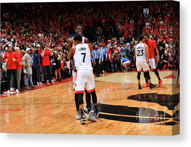 Nba Pro Basketball Canvas Print featuring the photograph Pascal Siakam and Kyle Lowry by Jesse D. Garrabrant