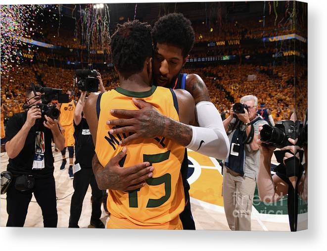 Playoffs Canvas Print featuring the photograph Paul George and Donovan Mitchell by Garrett Ellwood