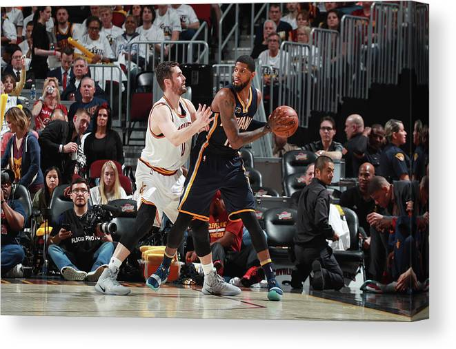 Playoffs Canvas Print featuring the photograph Paul George and Kevin Love by Jeff Haynes