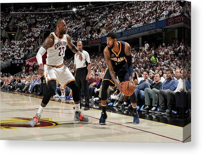 Playoffs Canvas Print featuring the photograph Paul George and Lebron James by David Liam Kyle