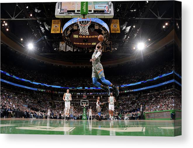 Nba Pro Basketball Canvas Print featuring the photograph Paul George by Brian Babineau