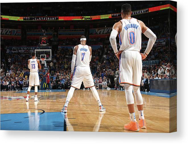 Nba Canvas Print featuring the photograph Paul George, Carmelo Anthony, and Russell Westbrook by Layne Murdoch