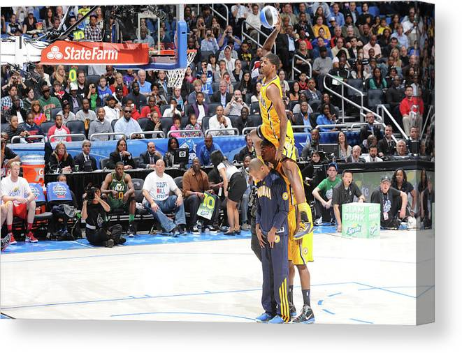 Nba Pro Basketball Canvas Print featuring the photograph Paul George, Dahntay Jones, and Roy Hibbert by Andrew D. Bernstein