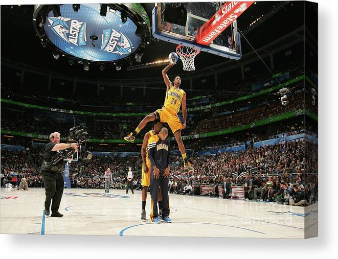Nba Pro Basketball Canvas Print featuring the photograph Paul George, Dahntay Jones, and Roy Hibbert by Nathaniel S. Butler