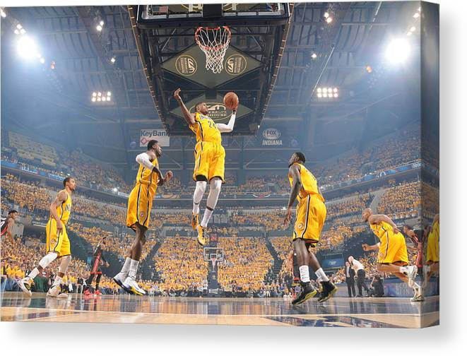 Playoffs Canvas Print featuring the photograph Paul George by Ron Hoskins