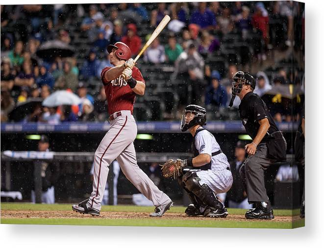 People Canvas Print featuring the photograph Paul Goldschmidt and Nick Hundley by Dustin Bradford