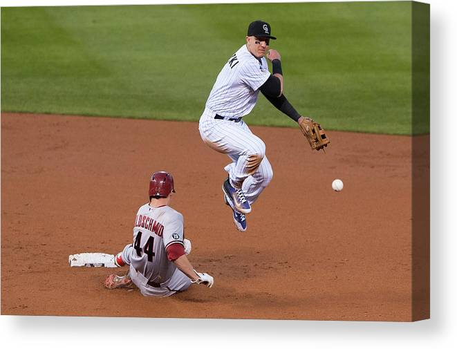 Double Play Canvas Print featuring the photograph Paul Goldschmidt and Troy Tulowitzki by Dustin Bradford