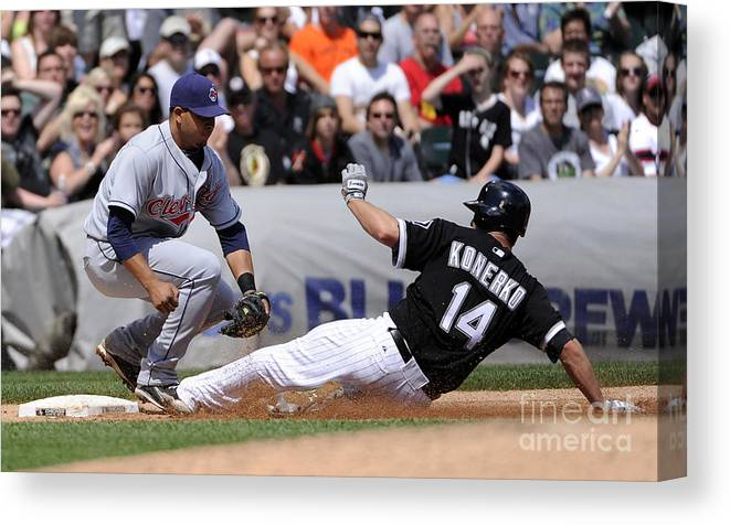 American League Baseball Canvas Print featuring the photograph Paul Konerko and Jhonny Peralta by Ron Vesely
