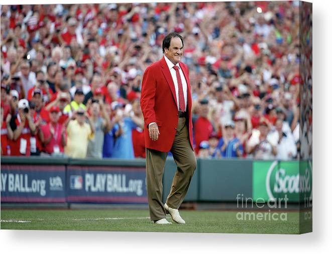 Great American Ball Park Canvas Print featuring the photograph Pete Rose by Rob Carr