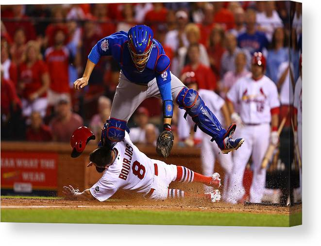 St. Louis Cardinals Canvas Print featuring the photograph Peter Bourjos and Miguel Montero by Dilip Vishwanat