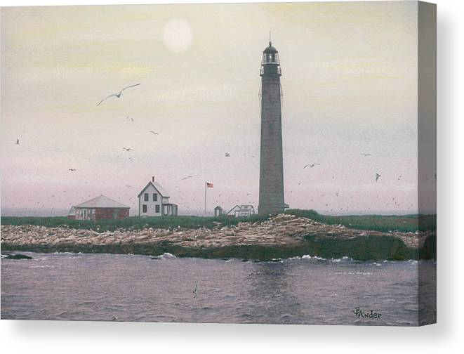 Lighthouse Canvas Print featuring the drawing Petit Manan Lighthouse by Brent Ander