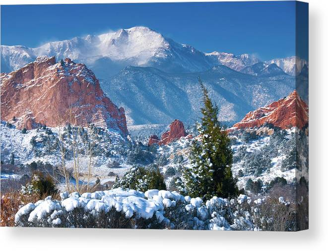 Colorado Canvas Print featuring the photograph Pikes Peak in Winter by John Hoffman