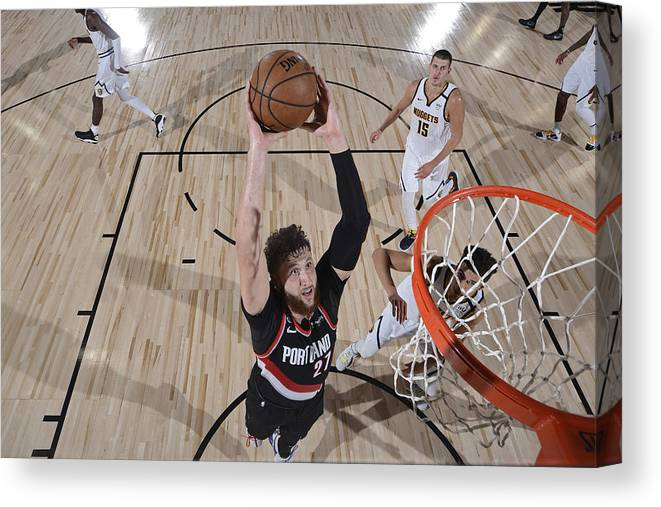Jusuf Nurkić Canvas Print featuring the photograph Portland Trail Blazers v Denver Nuggets by David Dow