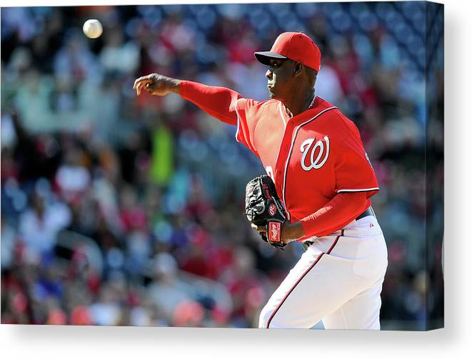 Ninth Inning Canvas Print featuring the photograph Rafael Soriano by Greg Fiume