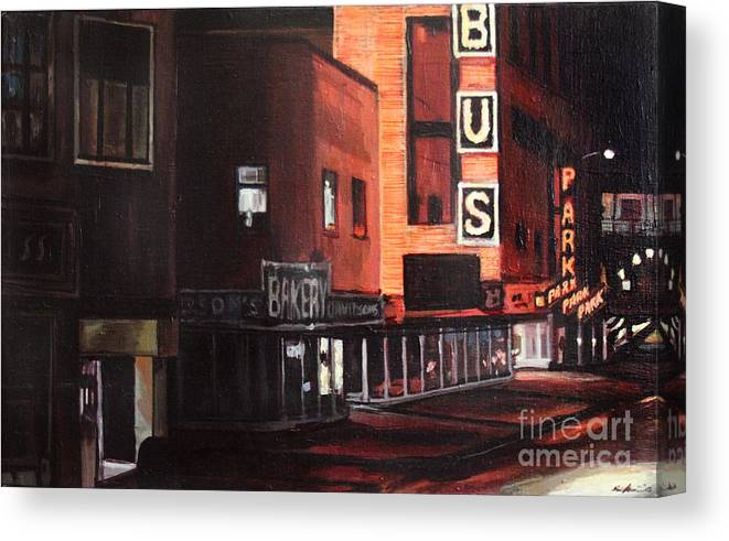 Chicago Canvas Print featuring the painting Randolph at Night by Christopher Buoscio