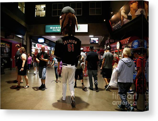 People Canvas Print featuring the photograph Randy Johnson by Christian Petersen