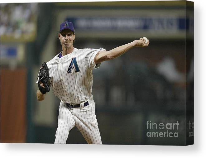 American League Baseball Canvas Print featuring the photograph Randy Johnson by Rich Pilling