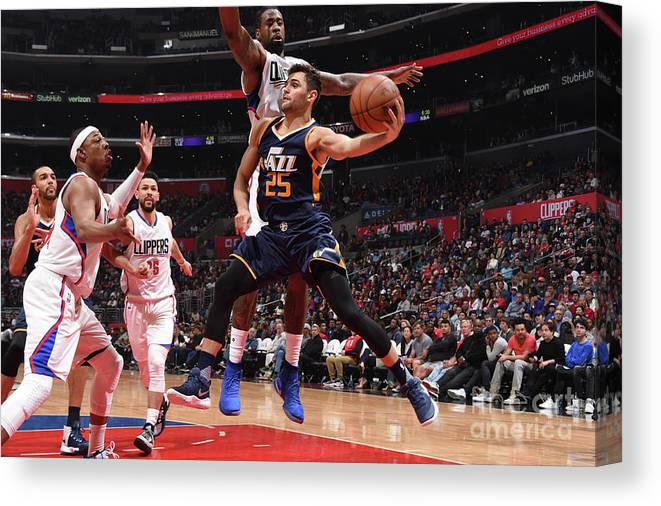 Nba Pro Basketball Canvas Print featuring the photograph Raul Neto by Andrew D. Bernstein