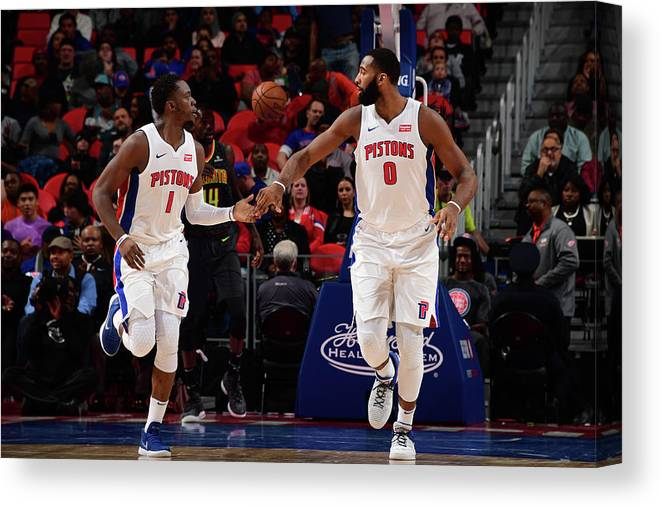 Nba Pro Basketball Canvas Print featuring the photograph Reggie Jackson and Andre Drummond by Chris Schwegler
