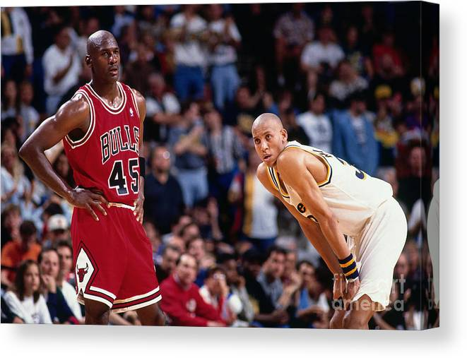 Chicago Bulls Canvas Print featuring the photograph Reggie Miller and Michael Jordan by Barry Gossage