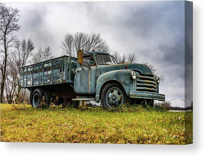 Landscape Canvas Print featuring the photograph Retired Farm Truck by Scott Smith