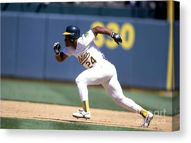 American League Baseball Canvas Print featuring the photograph Rickey Henderson by Jeff Carlick