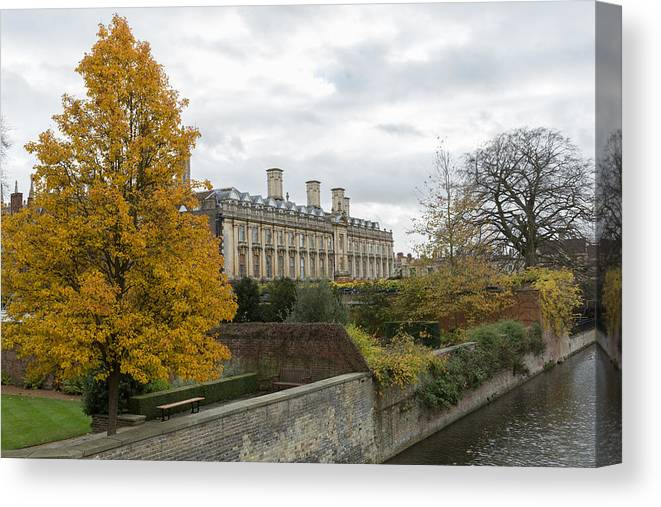 Cambridgeshire Canvas Print featuring the photograph River Cam in Cambridge England city scene by Mikeuk