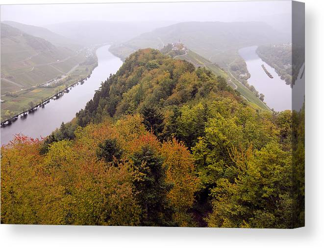 Outdoors Canvas Print featuring the photograph River Moselle in Autumn by Bernd Schunack