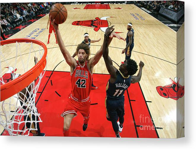 Nba Pro Basketball Canvas Print featuring the photograph Robin Lopez by Gary Dineen