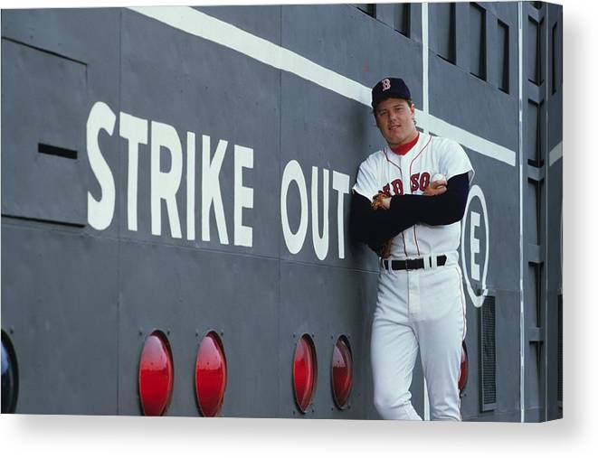 1980-1989 Canvas Print featuring the photograph Roger Clemens by Ronald C. Modra/sports Imagery
